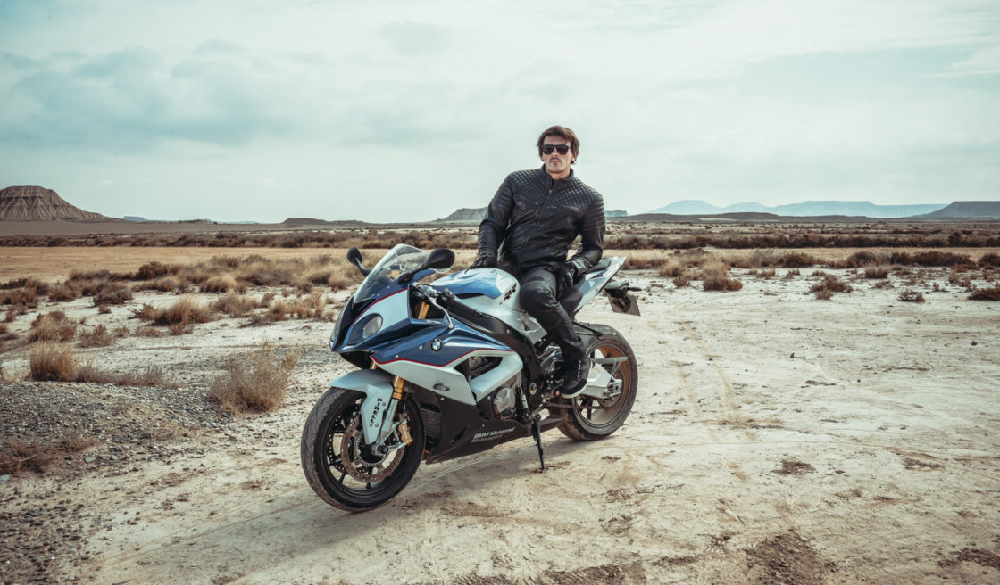 Roadtrip in motorcycle for clothes and accessories catalog